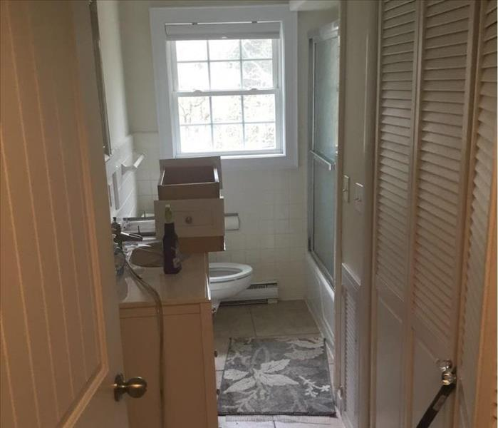 Bathroom Water Damage in Rocky Hill CT - Before shot of bathroom water damage