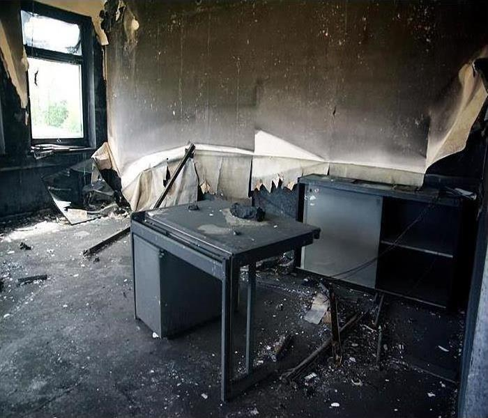 A burnt-out office with desk